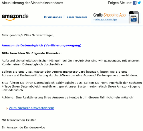 Screenshot der HTML-formatierten Phishing-Mail
