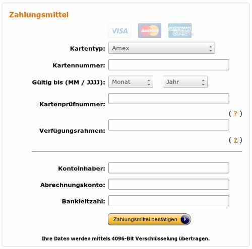Screenshot der Bildschirmmaske zum Eingeben der Kreditkartendaten