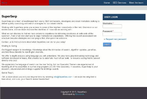 Screenshot der angeblichen SEO-Website