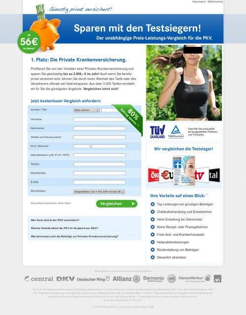 Screenshot der betrügerischen Website, die vorgibt, Tarife von Krankenversicherungen zu vergleichen