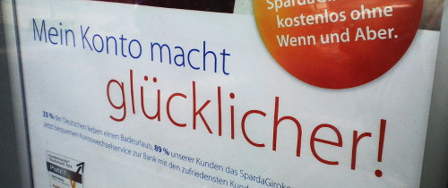 Außenwerbung der Sparda-Bank: Mein Konto macht glücklicher!