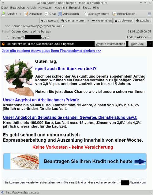 Screenshot der Ansicht der betrügerischen Spam im Mailprogramm -- und nein, ich habe heute keine Lust, diesen dummen Text abzutippen.