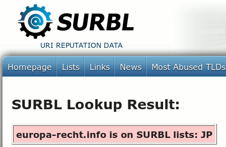 Screenshot SURBL-Website: europa-recht.info is on SURBL list: JP