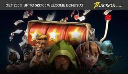 GET 200% UP TO $£€2100 WELCOME BONUS AT 77JACKPOT.COM