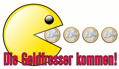 Die Geldfresser kommen! (Pacman frisst eine Reihe Euro-Münzen)