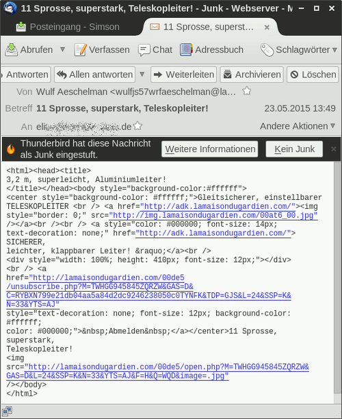 Darstellung der Spam im Thunderbird, die HTML-Mail wird als HTML-Quelltext dargestellt, weil der Spammer zu doof war, den richtigen MIME-Type anzugeben