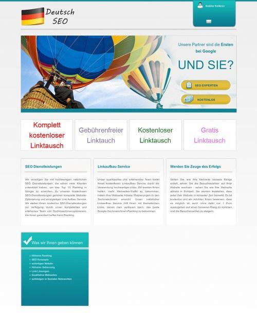 Screenshot der Website der angeblichen SEO-Agentur 'DeutschSEO'.