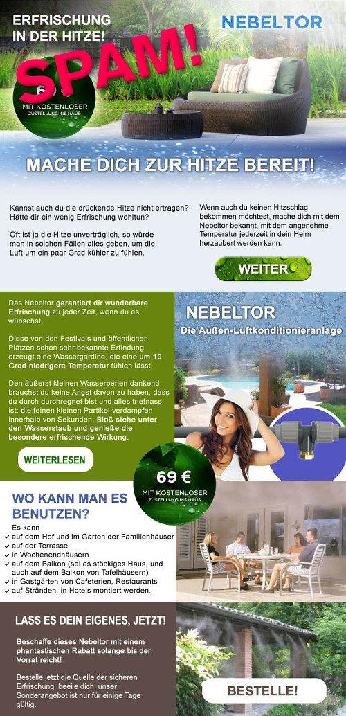 Eine Grafik aus einer Spam für 'Nebeltore', die den gesamten Text enthält