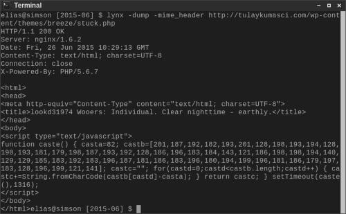 Screenshot eines Terminal-Fenster mit der Ausgabe von lynx -dump -mime_header von der angegebenen URL, die eine in JavaScript programmierte Entschlüsselung verschlüsselten JavaScript-Codes zeigt; der entschlüsselte Code wird dann nach 1,3 Sekunden ausgeführt. Ansonsten gibt es, von einem idiotisch-dadaistischen Titel einmal abgesehen, keine weiteren Inhalte.