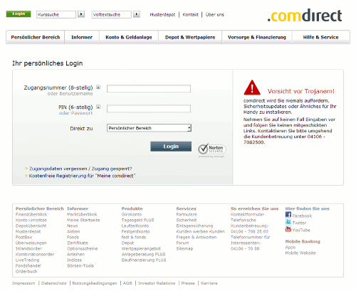 Screenshot der Phishing-Site