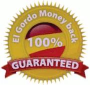 Detail aus der angeblichen Gewinnbenachrichtigung: Siegel mit dem Text 'El Gordo Money back 100% guaranteed'.