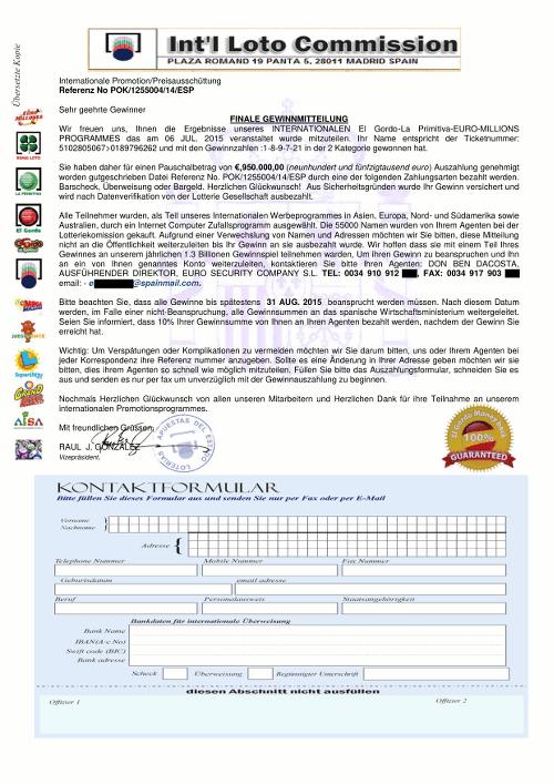 Screenshot der angeblichen Gewinnbenachrichtigung zur Einleitung eines Vorschussbetruges