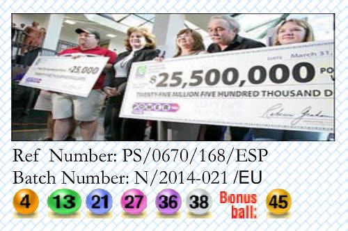 Detail aus dem Briefkopf der angeblichen Gewinnbenachrichtung. Ref Number PS/0670/168/ESP, Batch Number N/2014-021/EU, 4-13-21-27-36-38, Bonus ball 45
