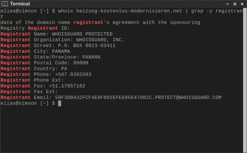 Screenshot eines Terminalfensters, in dem ich einen whois auf den Domainnamen ausgeführt habe