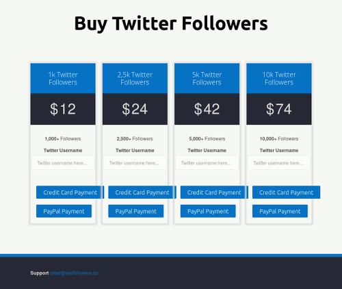 Screenshot der betrügerischen Website zum Kaufen von Twitter-Followern