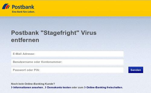 Screenshot des Anhanges mit einer Phishing-Seite im Design der Postbank. Unter der Überschrift 'Postbank Stagefright Virus entfernen' soll die E-Mail-Adresse, die Kontonummer und ein Passwort oder eine PIN eingegeben werden.