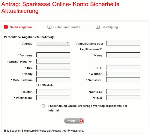 Screenshot eines Details der Phishing-Seite