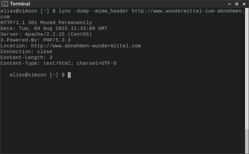Screenshot eines Terminals mit der Ausgabe von lynx -dump -mime_header, die den reinen Weiterleitungscharakter der Domain belegt