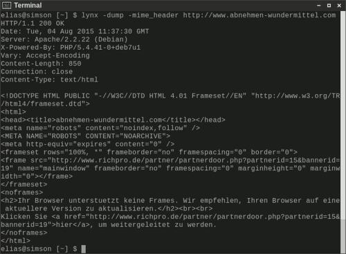 Screenshot eines Terminals mit der Ausgabe von lynx -dump -mime_header, das den Quelltext offenbart