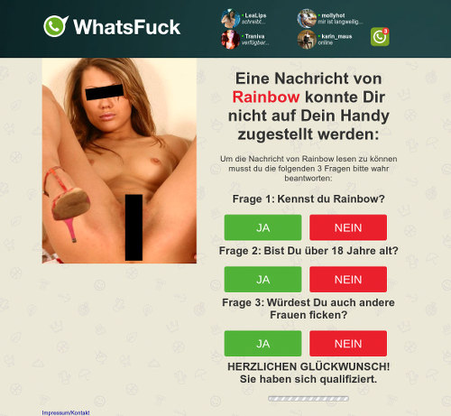 Screenshot der betrügerischen Dating-Website
