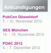 Detail aus der betrügerischen Website, wo Veranstaltungen angekündigt werden -- und zwar ausnahmslos solche aus dem Jahr 2012