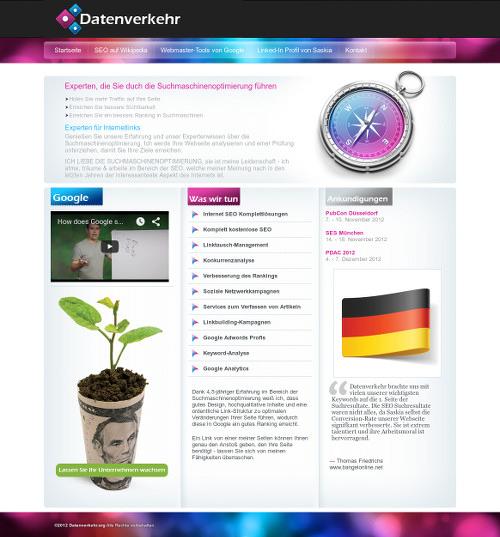 Screenshot der Website dieses angeblichen SEO-Anbieters