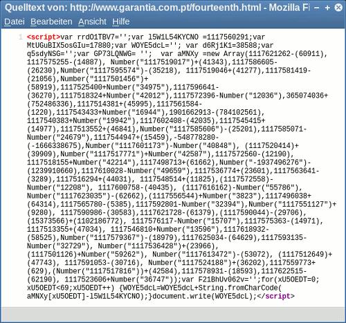 Screenshot der Seitenquelltext-Ansicht im Firefox mit vorsätzlich kryptischem Javascript
