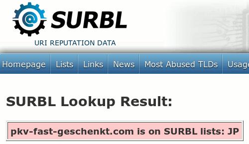 SURBL hat die Domain auf der Liste JP