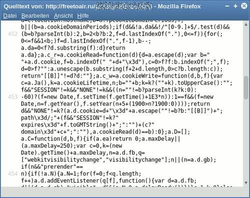 Screenshot der Quelltext-Ansicht des Firefox mit dem vorsätzlich kryptisch formulierten Javascript aus der vorgeblichen Phishing-Seite