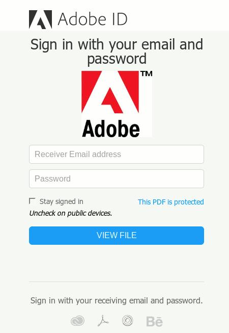 Screenshot der Phishing-Seite für Adobe-IDs