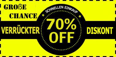 Detail aus der Startseite. Ein Banner mit dem Text: Große Chance -- Schnellen Einkauf -- Verrückter Diskont -- 70% OFF