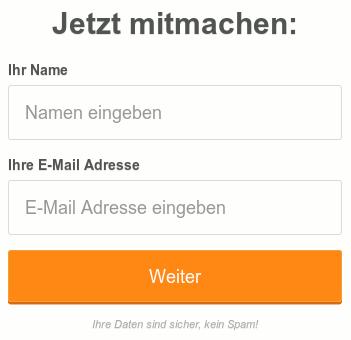 Detail der betrügerischen Website mit Hinweis unter dem Dateneingabefeld: 'Ihre Daten sind sicher, kein Spam!'.