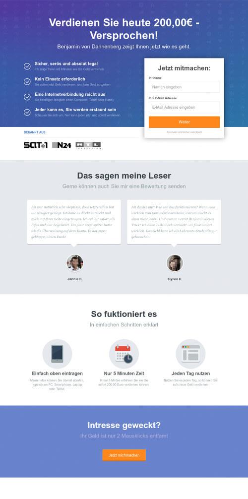 Screenshot der betrügerischen Website. Oben in großen Buchstaben: 'Verdienen Sie heute 200,00€ - Versprochen!'.