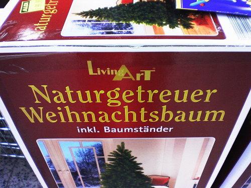 Verpackung: Living Art Naturgetreuer Weihnachtsbaum inkl. Baumständer