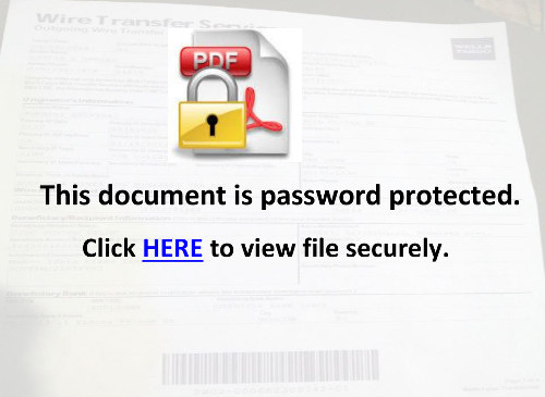 Screenshot des PDFs: This document is password protected. Click HERE to view file securely.