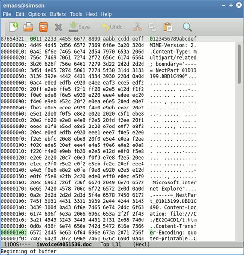 Screenshot: Darstellung des Mailanhanges in meinem Editor, der zeigt, dass die Angabe der MIME-Header so verunfallt ist, dass das Dokument mit Nonsens aufgefüllt wurde