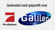 Detail aus der betrügerischen Website: Getestet und geprüft von ProSieben Galileo
