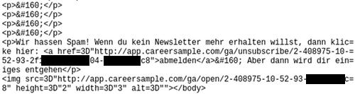 Screenshot des Webbugs im Quelltext der Spam, dargestellt in meinem Editor