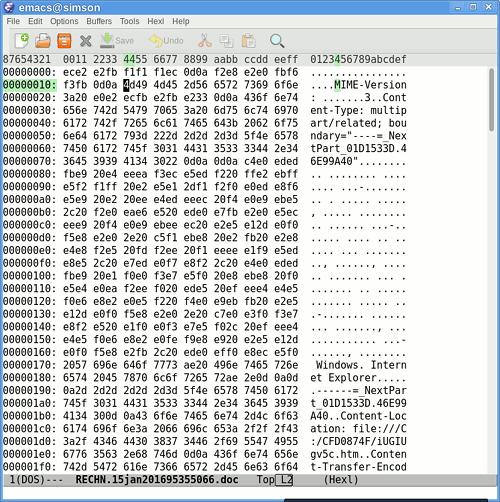 Screenshot des im Hexl-Mode von Emacs geöffneten Anhanges des E-Mail, der belegt, dass es sich um ein mehrteiliges MIME-Dokument handelt.