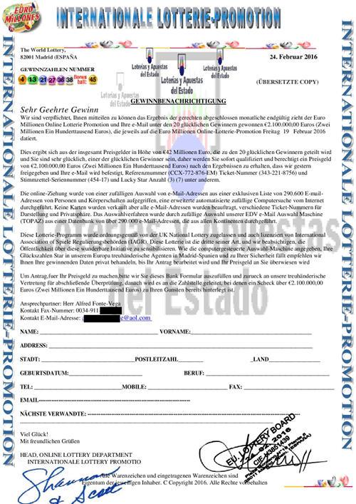 Verkleinerte Version der Gewinnbenachrichtigung zur Einleitung eines Vorschussbetruges -- zum Vergrößern klicken