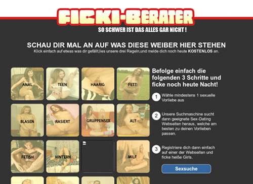 Screenshot der betrügerischen Dating-Site