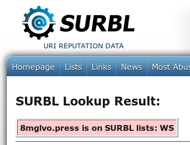 SURBL Lookup Result: 8mglvo.press is on SURBL lists: WS