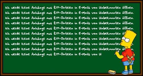 Bart Simpson steht vor einer Tafel und schreibt als Strafarbeit immer wieder 'Ich werde keine Anhänge aus ZIP-Dateien in E-Mails von Unbekannten öffnen'.