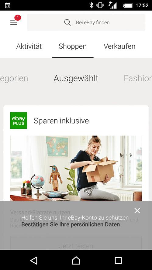 Screenshot der eBay-App. Im unteren Bereich ist ein Overlay mit folgendem Text eingeblendet: 'Helfen Sie uns, Ihr eBay-Konto zu schützen (Link) Bestätigen Sie Ihre persönlichen Daten'.