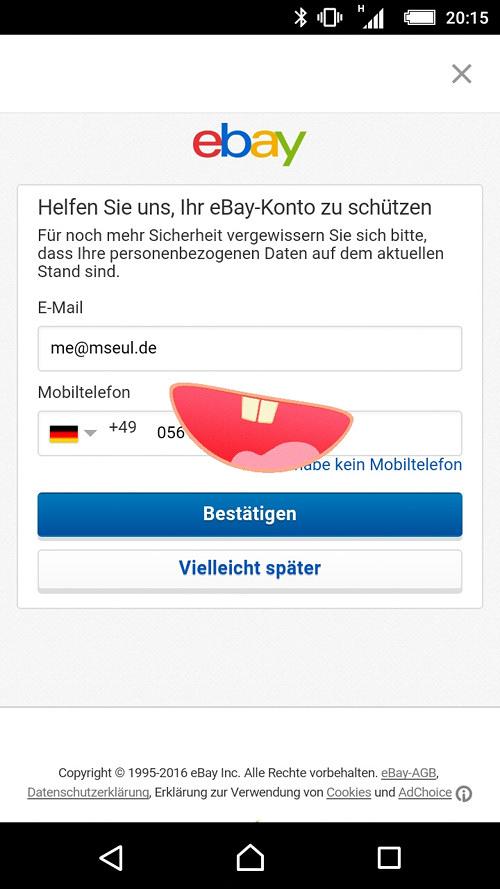 Screenshot der eBay-Seite zur Datenbestätigung -- Helfen Sie uns, Ihr eBay-Konto zu schützen -- Für noch mehr Sicherheit vergewissern Sie sich bitte, dass Ihre personenbezogenen Daten auf dem aktuellen Stand sind. -- E-Mail -- Mobiltelefon