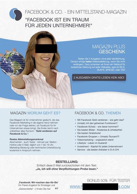 Screenshot einer Spammail für ein so genanntes 'Facebook-Magazin' für Mittelständler