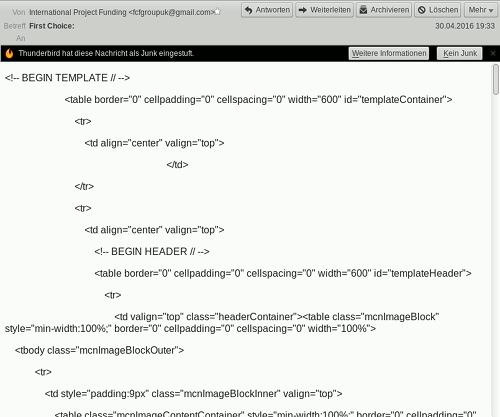 Screenshot der Spam im Mozilla Thunderbird mit der für die meisten Leser unentzifferbaren Darstellung eines HTML-Quelltextes