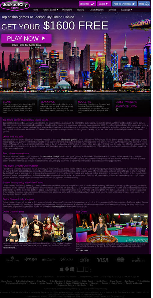 Screenshot des betrügerischen Casinos