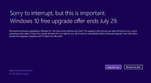 Screenshot Windows 7 mit bildschirmfüllenden Update-Hinweis auf Windows 10