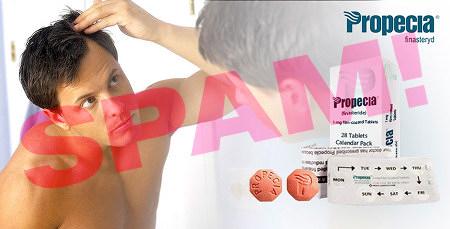Verkleinerte Version des Bildes, das vermutlich einer echten Werbung entnimmen ist. Markenname 'Propecia', Medikamentenpackung, Beipackzettel, Tagesdosierer für eine Woche, zwei einzelne Tabletten und ein Mann, der sich kritisch seine gar nicht so lichten Haare im Spiegel anschaut.